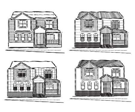 buidings: Hand drawn house. Vector illustration of residential buidings