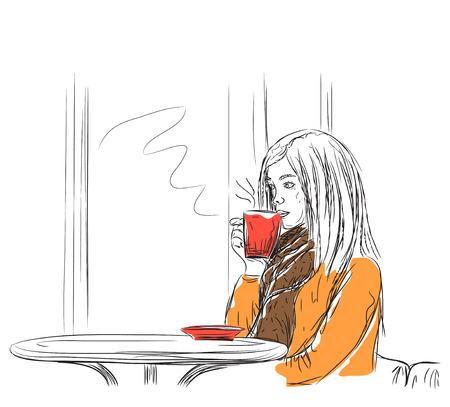 autumn woman: Vector illustration. Beautiful young woman drinking coffee Illustration