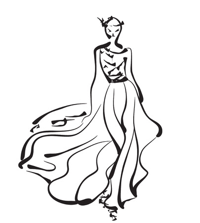 modelos posando: Modelos de moda. Bosquejo drenado mano de la mujer de la historieta.