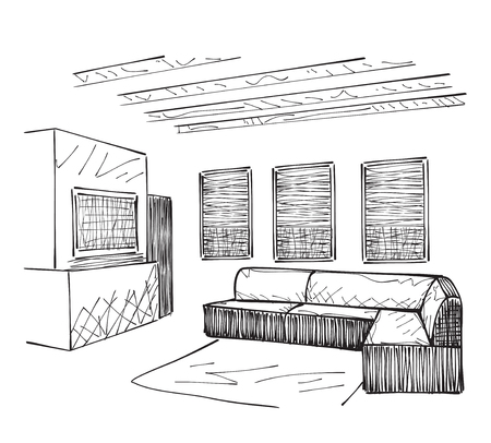 modern apartment: Drawing-room. Editable vector illustration of an outline sketch of a interior.