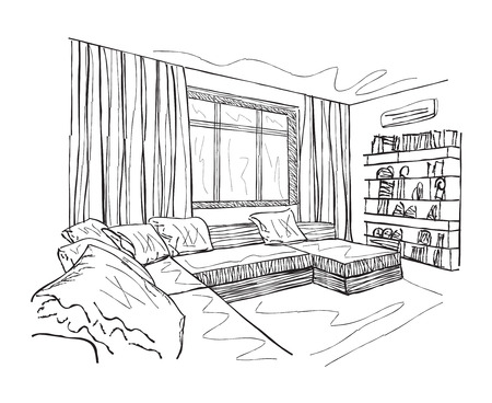 living room furniture: Room interior sketch. Hand drawn furniture in living room.