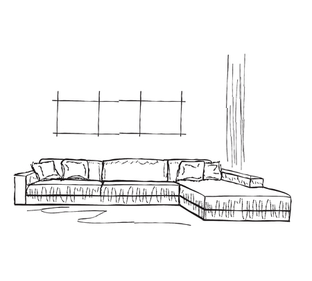 divan: Living room interior sketch. Hand drawn sofa