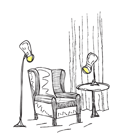 lamp outline: Home interior sketch with armchairs and lamp
