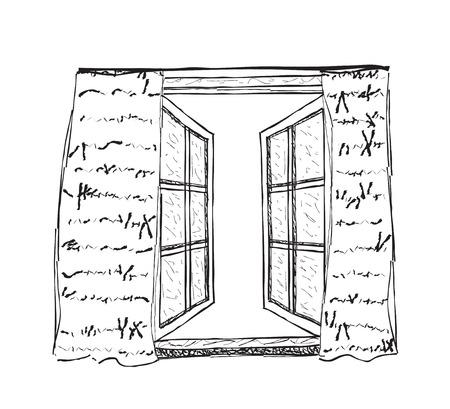 Hand drawn illustration of opened window. Window sketch