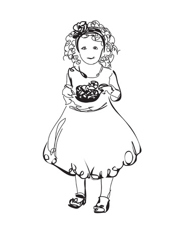 baby girl: Little girl in the dress. Fashion baby sketch