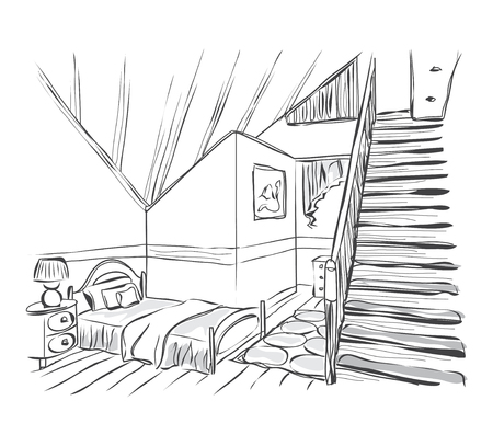 stairs interior: Modern interior room sketch with stairs. Baby room. Illustration