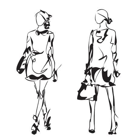 Fashion model sketch. Cartoon girl. Woman in the dress