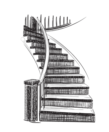 spiral stairs: Hand drawn staircase sketch. Interior house element. Illustration