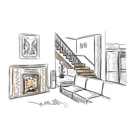 modern interior: Modern interior room sketch. Hand drawn interior.