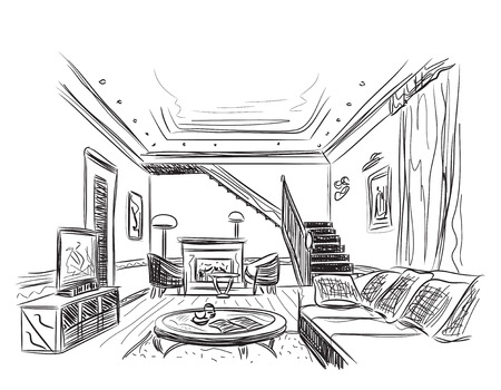 drawing room: Modern interior room sketch. Hand drawn illustration. Illustration