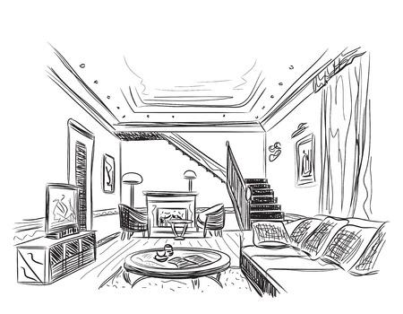 Moderne binnenlandse ruimte schets. Hand getrokken illustratie.