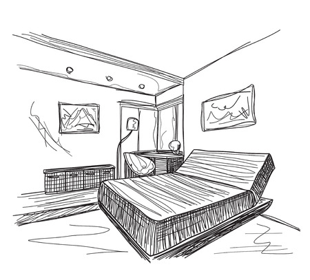 bed room: Bedroom modern interior vector drawing isolated on white background
