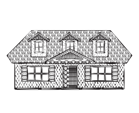 building sketch: Drawing houses vector sketch. Cartoon sweet building.