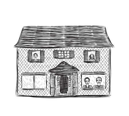 building sketch: Drawing houses vector sketch. Hand drawn building.