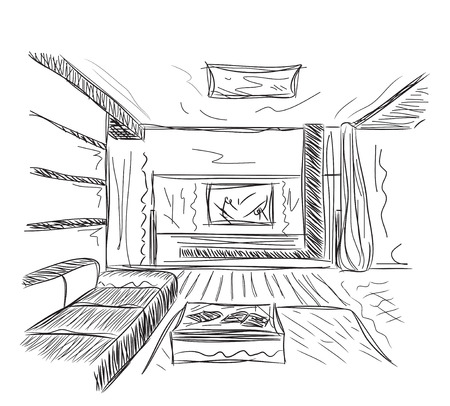 architectural design: Interior outline sketch. Architectural design. Hand drawn living room.