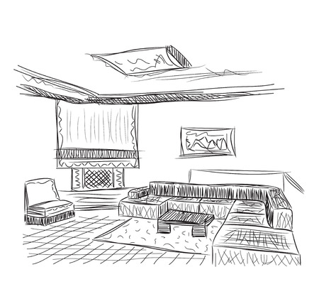 interior design: Interior outline sketch. Architectural design. Hand drawn living room.