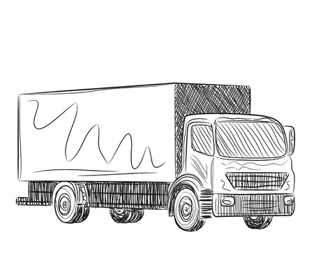 hand truck: Sketch logistics and delivery poster. Hand drawn truck Illustration