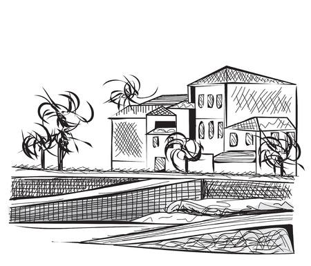 quay: Hand drawn city with quay, vector illustration