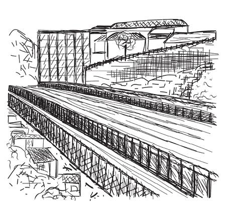 bridge hand: Hand drawn bridge, city sketch, vector illustration