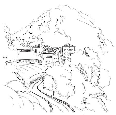 mountain road: Landscape Road. Hand drawn Vector Illustration sketch