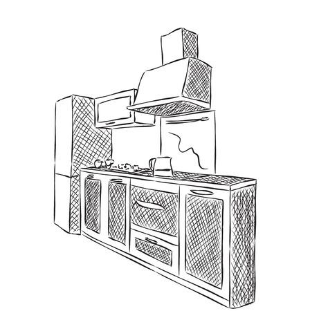 interior drawing: Kitchen interior drawing, vector illustration, furniture sketch Illustration