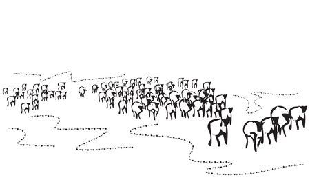 herd: Hand drawn crowd illustration. Abstract doodle pattern