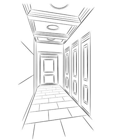 bulding: Sketch of hall. Hand drawn interior illustration