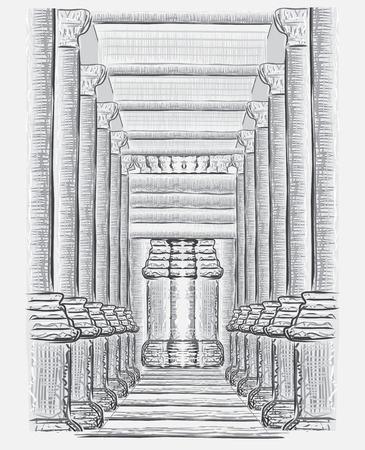 castle interior: Hand drawn hall sketch. Interior vector illustration