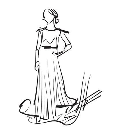 supermodel: Fashion models sketch. Hand drawn woman in the dress
