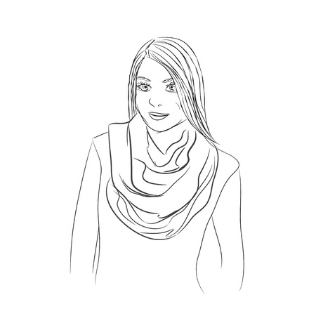 Beatuful girl in a scarf.  Hand-drawn vector.