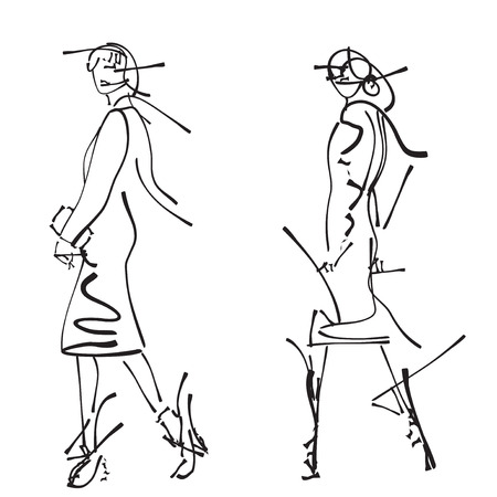supermodel: Fashion models sketch. Hand drawn cartoon woman in the dress