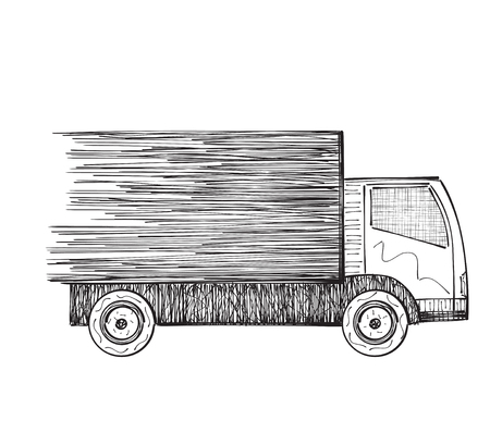 transport truck: Logistics of the goods. Drawn truck. International delivery transport. Illustration