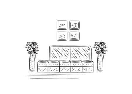 divan: Hand drawn sofas, vector illustration. Furniture sketch Illustration
