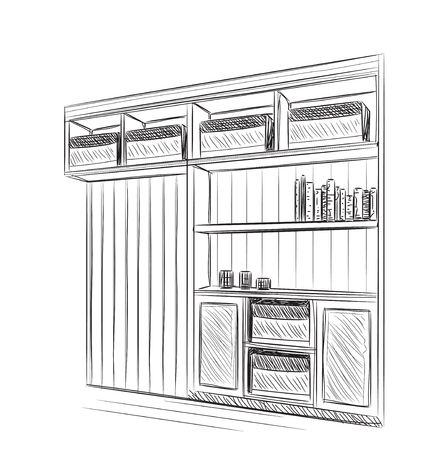 interior window: Room interior sketch, with window and bookshelving