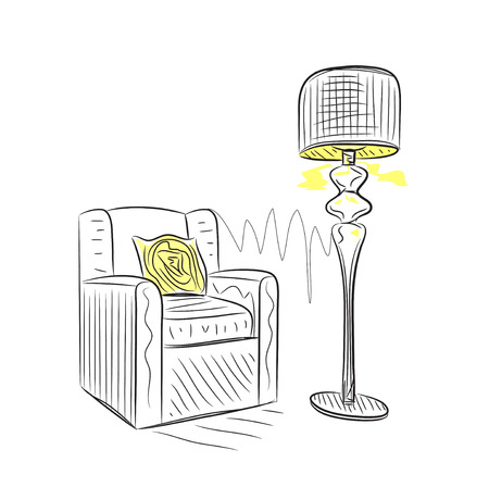 comfortable chair: Hand drawn room interior sketch. Comfortable chair. Illustration