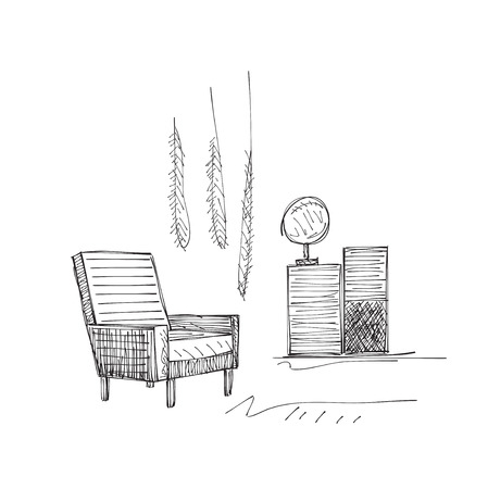 interior decoration: Hand drawn room interior sketch. Comfortable chair. Illustration