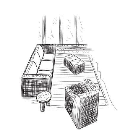 luxury condo: Drawing-room. Editable vector illustration of an outline sketch of a interior.