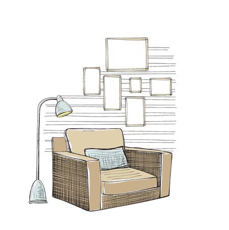 arm chair: Hand drawn room interior sketch. Comfortable chair. Illustration