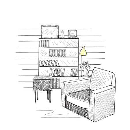 comfortable chair: Hand drawn room interior sketch. Comfortable chair and table.