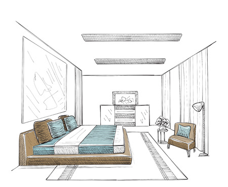 design drawing: Bedroom modern interior vector drawing isolated on white background