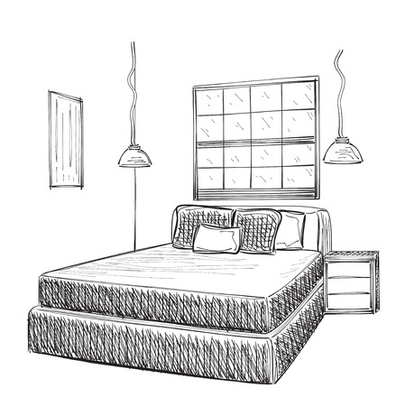 bedroom: Bedroom modern interior vector drawing isolated on white background