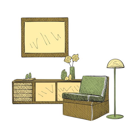 reading room: Place for reading with chair sketch. Room interior