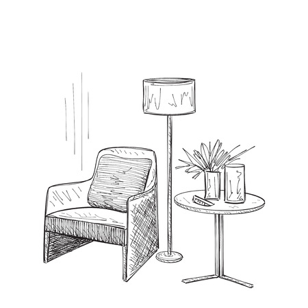 Place for reading with chair sketch. Room interior sketch