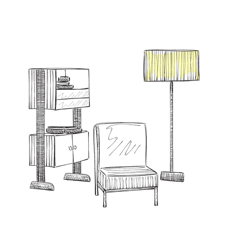 reading room: Place for reading with chair sketch. Room interior sketch