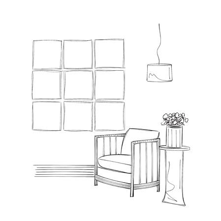 Mano stanza disegnato interni. Lettura posto abbozzo