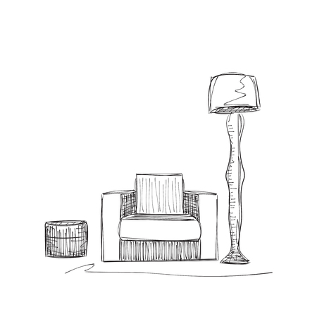 reading room: Hand drawn room interior. Reading place sketch