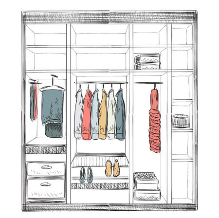 hanging woman: Hand drawn wardrobe sketch. Room interior with clothes.