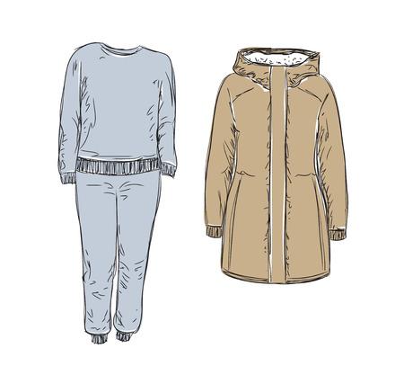 Conjunto de ropa de invierno. Dibujado a mano miradas casuales