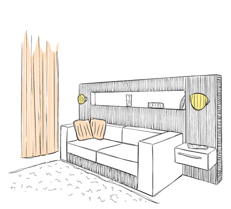 sofa: Modern interior room sketch. Hand drawn illustration. Illustration