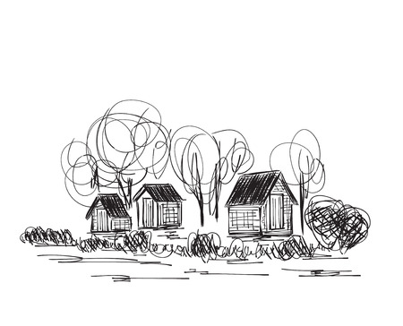 rural house: Landscape with Trees and village House. Hand drawn sketch. Illustration